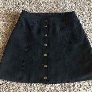 Black button down suede skirt with pockets
